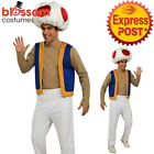 K390 Mens Toad Mushroom Super Mario Bros Video Games Nintendo Vest Hat Costume