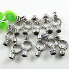 4pcs Round Cord End Cap Connectors Clasps Silver Alloy Crystal Jewelry Making
