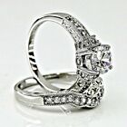 925 Sterling Silver Round cut Diamond Engagement Ring Wedding Set size 4-11