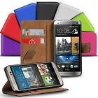 Real Genuine Leather Wallet Slim Stand Flip Case For HTC Series Mobile Phones