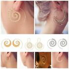 Vintage Women Lady Circles Round Spiral Brass Tribal Hoop Earrings Jewelry BLLT