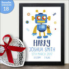 Personalised Robot Baby Boy Gift - Robot Nursery Print for Baby Boy Gifts