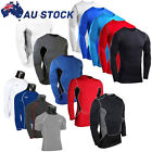 Mens T Shirt Compression Armour Base Layer Top Long Sleeve Thermal Gym Sports
