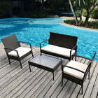 4 PC Outdoor Rattan Furniture Garden Conversation Set Cushioned Wicker Patio Set