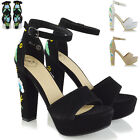 Womens Platform Heel Ankle Strap Flower Embroidered Shoes Ladies Party Sandals
