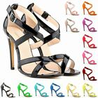 New Womens Ladies Mid High Heel Strappy Crossover Wedding Sandals Shoes Size 2:9