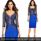 Women Sexy Elegant V-neck Floral Lace Slim Party Evening Cocktail Bodycon Dress
