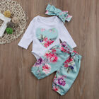 3pcs Newborn Kid Baby Girl Floral Clothes Jumpsuit Romper Bodysuit Pants Outfits <br/> 2-9 Days Shipping!!! 100% Positive Feedback!!!