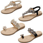 New LADIES FLAT WOMENS DIAMANTE SHOE JEWEL HOLIDAY SANDALS DRESSY PARTY SIZE 2-8