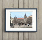 Fine Print of Spain Madrid Plaza City Street Watercolor Painting Urban Landscape