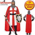CA404 Mens St George Knight Costume Hero English Guard Fancy Dress Up Medieval