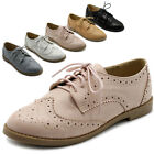 ollio Womens Flat Shoes Wingtip Lace Up Oxford