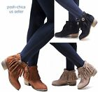 New Women ACo Fringe Western Moccasin Booties Low Heel Ankle Boots size 6 to 10