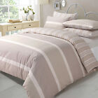 NATURAL STRIPE DUVET COVER WITH PILLOW CASE BEDDING SET SINGLE, DOUBLE, KING