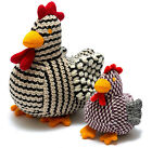 CHIRPY THE HEN KNITTED SOFT TOY BIRD CHICKEN RATTLE SUITABLE FROM BIRTH 2 SIZES