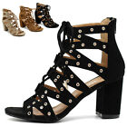 ollio Womens Shoes Faux Suede Lace Up Gladiator Ankle High Bootie