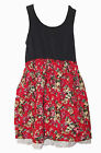 Girls Cotton Navy Dress with Red Floral Print Skirt Size 8 10 12 New