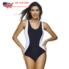 US Womens Sport Racer Back Swimsuit One Peace Swimming Costume Swimwear 3XL Plus