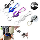 Stainless Silver Pull Ring Retractable Key Chain Recoil Keyring Heavy Duty Steel