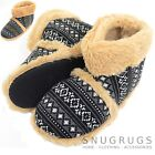 Mens Knitted Style Slipper Boots / Booties with Warm Faux Fur Lining and Cuff