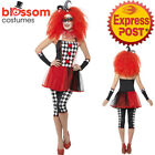 CA425 Ladies Twister Jester Harlequin Circus Clown Halloween Fancy Dress Costume