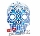 Blue Skull - Day of Dead Style - Buckle whith blue enamel - Fits Snap on Belt