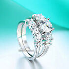 Fine 925 Sterling Silver Engagement Ring Set Round Cut Simulated Diamond