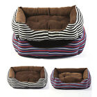 Striped Dog Puppy Canvas Bed Sofa Comfortable Pet Cat Basket Cushion for Teddy