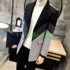Mens casual trench hip length lapel wool blend mixed color slim fit jacket New