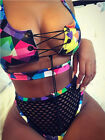 Women Lace Up Bikini Set Push-up Padded Bra Mesh Swimsuit Bathing Suit Swimwear