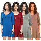 New Womens Plain 3 Button Short Turn Up Sleeve Flared Tunic Swing Dress 8-22