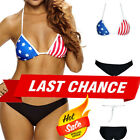 2PC American Flag Swimsuit Bikini Triangle Top Simple Black Bottoms Swimwear S-L