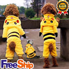 Dog Cat Costume Pikachu Halloween Hoodie For Accessory Pokemon Pet Puppy Clothes