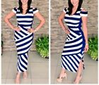 Karen Millen Navy Bold Striped Nautical Midi Casual Party Maxi Dress 14 42 New