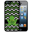 MONOGRAMMED RUBBER CASE FOR iPHONE 7 6S 6 SE 5 5S 5C PLUS GREEN FROG CHEVRON