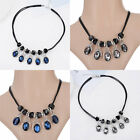 Sale Women Crystal PU Leather Rope Water Drop Pendant Geometry Chain Necklace
