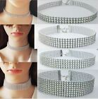 10mm, 16mm or 25mm Silver tone Choker Necklace Rhinestone Crystal Burlesque