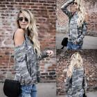 New Fashion Women Casual O-Neck Long Sleeve Cold the Shoulder Camouflage LM 01