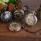 Classic Steampunk Flower Dial Skeleton Mechanical Pocket Watch Chain Pendant Fob