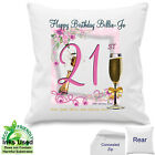 Age Cushion Personalised Pink Girl 18th 21st 30th 40th 50th 60th Birthday Gift