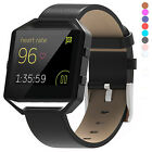 For Fitbit Blaze Genuine Leather Watch Band Replacement Strap+Metal Frame New US