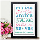 Leave Advice and Wishes for Mr & Mrs PERSONALISED Wedding Sign Luck Messages