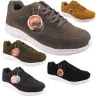 New Mens Lace Up Sports Fitness Faux Suede Gym Athletic Trainers Shoes Sizes UK