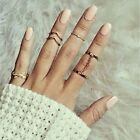 6 Pcs Set Gold Urban Ring Crystal Above Knuckle Stacking Band Midi Mid Rings