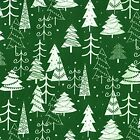 Printed Polyester Cotton - Christmas Trees -Green - 847
