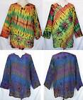 Unisex Tie Dye Long Sleeve Cotton TOP Pullover Shirt One Size Women XL, Men L-XL