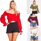 Womens Ladies Bardot Off The Shoulder Ruffle Frill Sleeve Shirred Crop Top Shirt