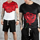 NewStylish Mens Fashion Casual Clothing Tee Rose Pattern Slim Round T-shirts