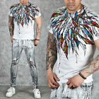 NewStylish mens Colorful dreamcatcher feather print round slim t-shirts