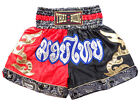 Men Boxing Shorts Training Muay Thai Fighting Satin Martial Arts Red Black